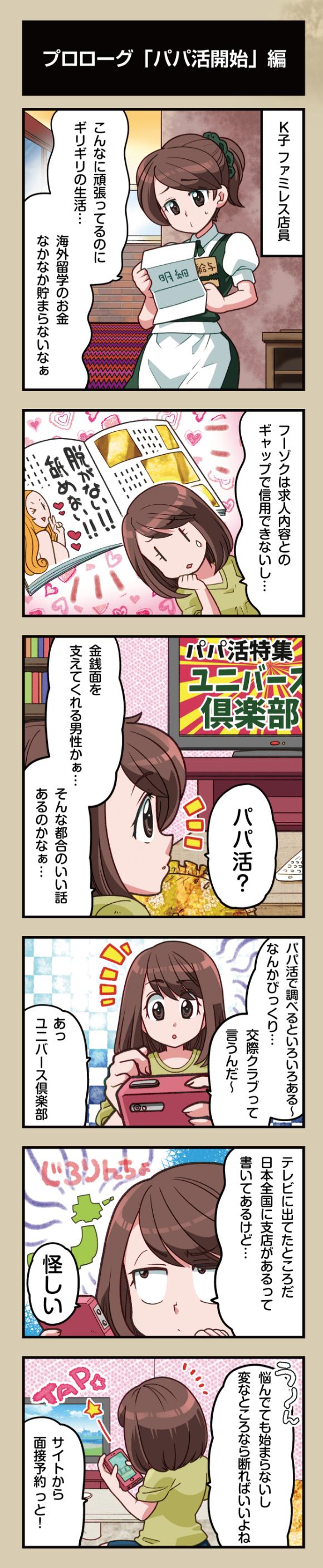 デートクラブ(交際クラブ)ユニバースクラブの登録からマッチング、デートまでを漫画で解説01